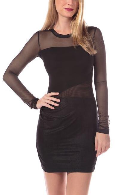 Sheer Shoulders Long Sleeve Black Dress By Bcbg Hollywood Closet