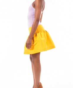 Lemon Chiffon, Yellow Full Mini Skirt By Red Valentino-5169