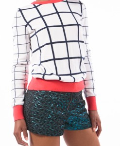 square printed sweater