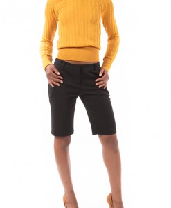Texture and Shine, Mustard textured stretch sweater by Soho Girls-4282