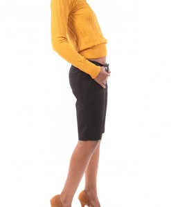 Texture and Shine, Mustard textured stretch sweater by Soho Girls-4281