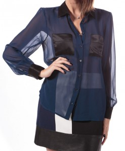 Azul Azul, sheer blouse with satin detail by Anna Catherine-4108
