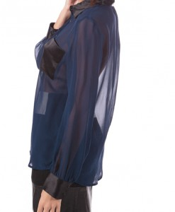 Azul Azul, sheer blouse with satin detail by Anna Catherine-4106