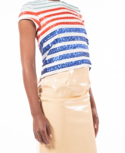 Patriotic Sequence, sequined striped top by L.A.M.B-3981