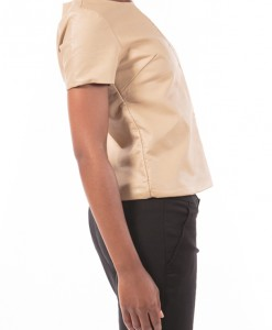 Sweet Not Sour, camel colored faux leather top by Black Rivet-3984