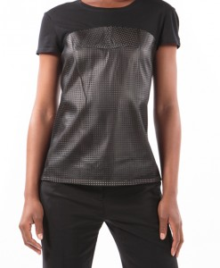 perforated black tee