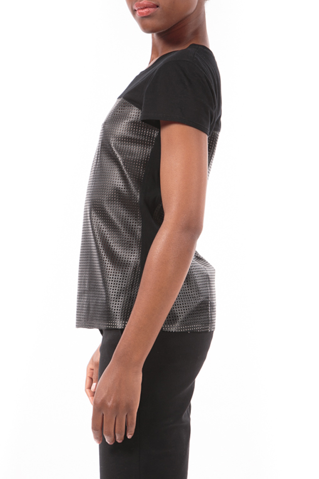 Body Armor, perforated black tee by BCBG MAXAZRIA-3988